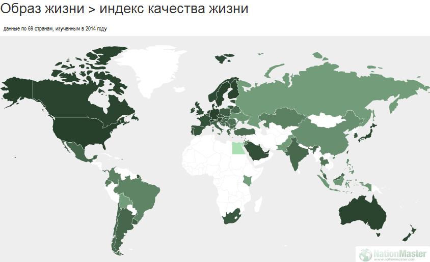 Индекс качества жизни в России: ниже только в Кении и Египте